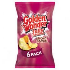 Golden Wonder Smokey Bacon Crisps - 6 Pack